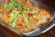 Dorito Chicken Cheese Casserole   Mexican casserole dish with chicken and cheese, really seems like the ...