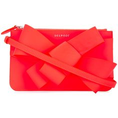 Delpozo asymmetric bow clutch ($730) ❤ liked on Polyvore featuring bags, handbags, clutches, red clutches, red purse, delpozo, red handbags and bow purse