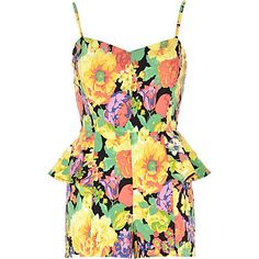 playsuits, floral prints, british fashion, fashion print, river island, islands, peplum playsuit, print peplum, island playsuit