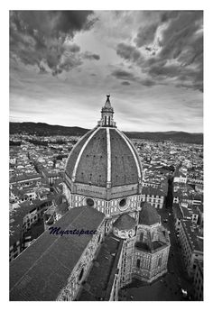 Duomo of Florence print, Travel to Italy, Black & White cityscape, Italian emblematic cityscape, romantic Florence architecture