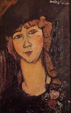 Lolotte (Head of a Woman in a Hat), 1916, Amedeo Modigliani Medium: oil on canvas