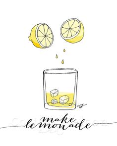 Make Lemonade Sketch Illustration  8x10 by CorissaNelsonArt, $5.00