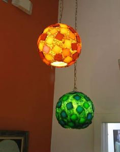 orange and green ball pendant vintage swag lamps