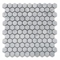 "LM HEX 1 CA -- Carrara White Hexagon 1""x1"""