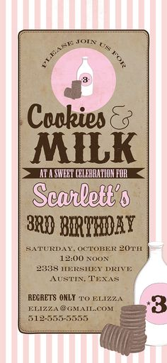 Cookies and Milk Party Invitation