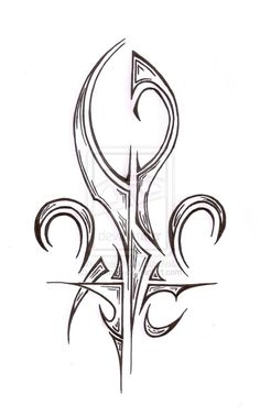 Fleur De Lis Tribal Tattoo Design
