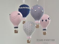Pink & Navy Hot Air Balloon Mobile Baby Nursery Decor Travel Theme