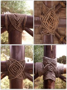 Rope tied into knots hold up the bamboo huts in that beautiful oasis in the Pine Forest. I present this collection of knots in honor of Na. Bamboo House, Bamboo Fence, Bamboo Furniture, Garden Furniture, Furniture Legs, Furniture Design, Modern Furniture, Handmade Furniture, Furniture Stores