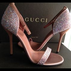 """NEW Gucci Crystal Noah Sandal NEW in box, with shoe cover & extra heel caps. Authentic Gucci Noah Crystal Evening heels Mixed crystals shimmer with liquid sparkle across the refined restraint of a minimalist, ankle-strap sandal. Approx. heel height: 4"""". Adjustable strap with buckle closure. Textile and leather upper/leather lining and sole. Made in Italy. I also have in size 38 Gucci Shoes Heels"""