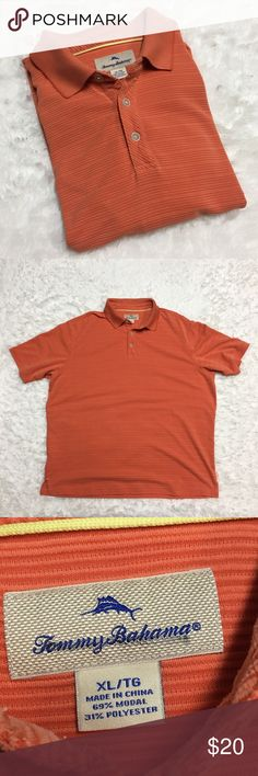 Tommy Bahama Orange Ribbed Polo Shirt : F Tommy Bahama Orange ribbed Polo Shirt men's size xl good used condition some marks from wear, but nothing major or noticeable.  Approximate measurements  ▪️Pit to Pit ▪️Shoulder to Hem Thank you for checking out my closet! Offers are always welcome or bundle for bigger savings. If you have any questions feel free to ask! Tommy Bahama Shirts Polos