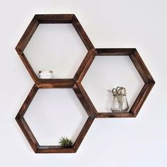 The Hexagonal Shelf, Honeycomb Shelf, home decor, interior design Honeycomb Shelves, Hexagon Shelves, Geometric Shelves, Woodworking Toys, Woodworking Patterns, Woodworking Chisels, Woodworking Projects, Small Potted Plants, Air Plants