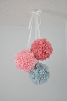 Good morning! I want to share a project I have been working on for the nursery that is really easy! I came across these fabric poms months...