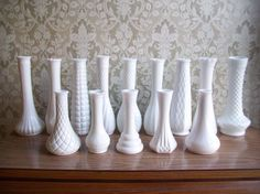 Love milk glass groupings