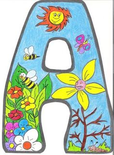 Letras para crear el cartel de primavera School Library Displays, Alphabet And Numbers, Letter Art, Monogram Letters, All The Colors, Diy And Crafts, Artsy, Clip Art, Techno