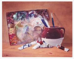 'Artist's Materials' by Celia Diaz ~ exhibit at Art Gallery 21 at the Woman's Club of Wilton Manors ~ Michelle Solomon wrote a really nice piece at miamiartzine.com about the art gallery my neighborhood association has established. I hope you'll take a read ...