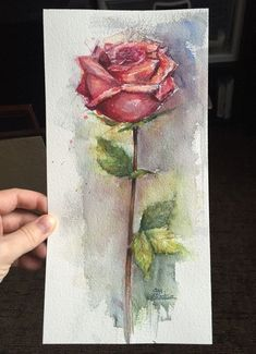 Red Rose Watercolor Painting, Flower Original Art, Floral Illustration - All About Watercolor Rose, Watercolor Paintings, Art Paintings, Watercolor Pencils, Watercolor Techniques, Drawing Techniques, Art Floral, Art Sketches, Art Drawings