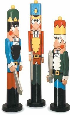 19-W2586 - Christmas Nutcrackers Post People Woodworking Plan Set - 3 plans included
