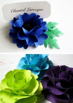 Paper Place Card Holders - love these! there's got to be a way to make these