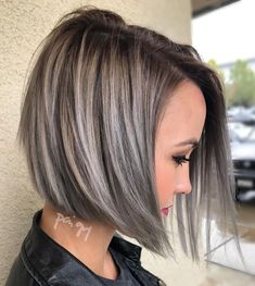 Angle Brown Bob With Gray Balayage