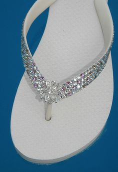 Glass Slippers Swarovski CRYSTAL BRIDAL Havaianas & Cariris Brand Wedding Beach Shoe Flip Flops. $139.95, via Etsy.