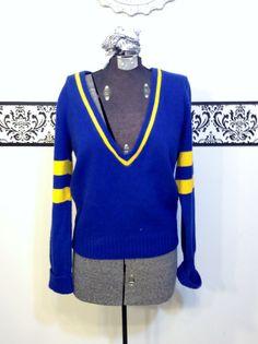 1960's Rockabilly Cheerleader Sweater in Primary by RetrosaurusRex