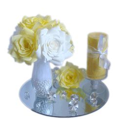 Yellow and white floral decor, Wedding table centerpiece, Reception decor, Yellow Roses home decor, Baby shower decor, Bridal shower decor - pinned by pin4etsy.com