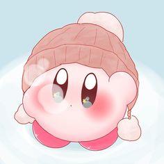 Kirby Wearing a Snow Hat Kawaii Wallpaper, Cartoon Wallpaper, Kawaii Drawings, Cute Drawings, Chibi, Kirby Memes, Kirby Nintendo, Kirby Character, Cute Doodles