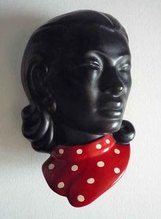 Vintage 1950s lady mask wall pocket