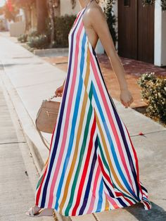 2018 New Print Halter Backless Beach Maxi Dress