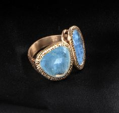 Double Stone Ring in .925 Sterling Silver with 18kt Rose Gold Plated with Aquamarine Gemstone