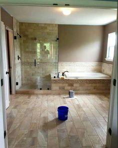 Love this tile. Rustic Bathrooms, Dream Bathrooms, Shower Remodel, Bath Remodel, Laundry In Bathroom, Small Bathroom, Ideas Baños, Master Bedroom Bathroom, Bathroom Design Luxury