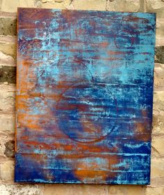 """28. Water & Rust – FOR SALE – 16"""" x 20"""" – Palette: Blue & Orange – No Frame – Substrate: Stretched Canvas – Medium: Acrylic – Art Category: Pure Abstract – Contact timo@timogallery.com for inquiries. For more information go to www.timogallery.com"""