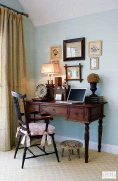 Add a desk to the corner of your bedroom, a charming addition to your private space.
