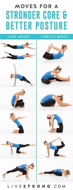 Easy yoga poses to strengthen your core and improve your posture. Easy yoga poses to strengthen your core and improve your posture. They'll strengthen and stretch your abs and back to help relieve back pain. Quick Weight Loss Tips, Weight Loss Help, Weight Loss Program, Weight Gain, Losing Weight, Weight Lifting, Weight Loss Rewards, Yoga Routine, Pilates Workout Routine