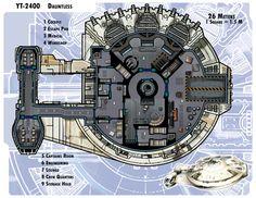 YT-2400 Dauntless by thedarkestseason.deviantart.com on @deviantART Star Wars Raumschiffe, Star Wars Ships, Nave Star Wars, Spaceship Interior, Spaceship Design, For Stars, Cyberpunk, Spacecraft, Deck Plans