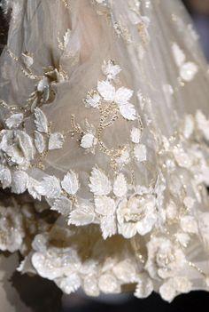 haute couture detail leaves applique