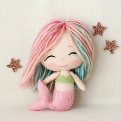 Rainbow Chibi Mermaid Pattern Kit by Gingermelon on Etsy