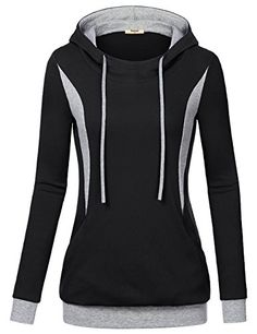 Tunics with Pockets for WomenTimeson Long Sleeve Color Block Pullover Casual Hooded Sweatshirt Black L -- Visit the image link more details.