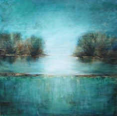 Tree painting teal abstract textured art large canvas teal 40 inch square Lauren Marems. etsy