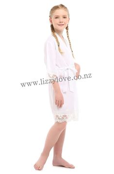 Gorgeous cotton robes with gorgeous lace trim. Flower Girl Robes, Lace Flower Girls, Kids Robes, Bridesmaid Robes, Gifts For Wedding Party, Lace Trim, Dressing, Gowns, Gift Ideas