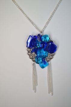 Creative Jewelry cabochon verre argent Collier Pendentifs Nouveau COLIBRI FLEUR
