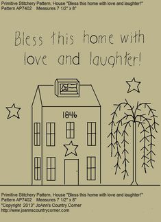Primitive Stitchery EPattern Bless this home by JoAnnCountryCorner, $2.00