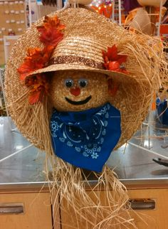 Straw hat scarecrow wreath