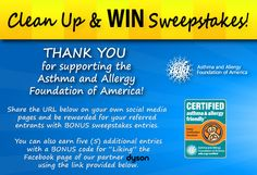 """AAFA's """"CLEAN UP & WIN"""" Sweepstakes Enter here  enters from http://woobox.com/6v2k4n/a2v1b3"""
