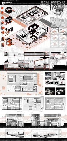 天大 | 12份美术馆设计作业 | 建筑学院 Public Architecture, Architecture Collage, Architecture Portfolio, Architecture Plan, Landscape Diagram, Presentation Board Design, Collage Illustration, Design Competitions, Urban Planning