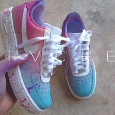 1b275ec983cfe1 Boys size 6 (Women s size Custom Air Force One Mids - Pastel Pink and Blue  gradient with lavender paint splatter.