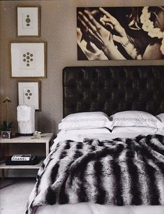 Awesome Classic Black And White Bedroom Decorating Ideas : Traditional Black Bed With White Pillows With Abstract Wall Paintings