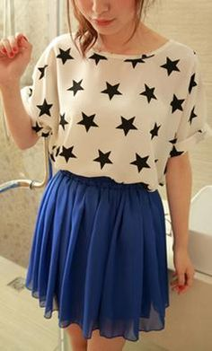 Welcome to Spot Pop Fashion | Spot Pop Fashion Contrast Colored Stars Printing