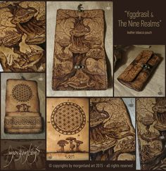 """Yggdrasil & The Nine Realms"" Leather tobacco pouch  Pyrography and painting.   ~~~SOLD~~~ for orders please contact me at morgenland@gmail.com"