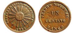 Scarce one centavo copper coin. Copper Coin, World Coins, Rare Coins, Tango, Actors, Money, Ancient Greece, Coins, Tin Cans